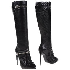 Giuseppe Zanotti New Black Silver Zipper Evening Moto Knee High Boots in Box