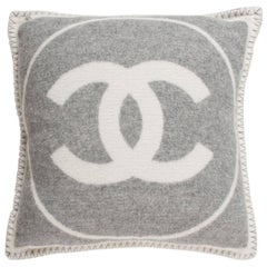 Chanel Gray and White Cashmere and Wool CC Couch Chair Decorative Throw Pillow