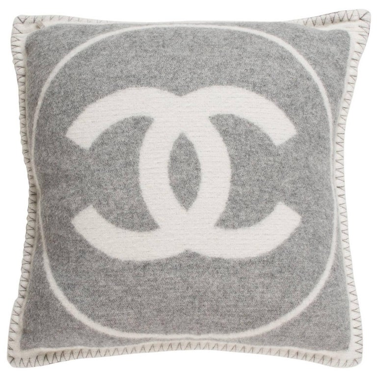 Chanel Gray and White Cashmere and Wool CC Couch Chair Decorative Throw Pillow at 1stdibs
