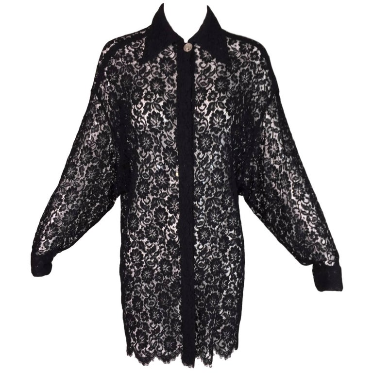 S/S 1994 Gianni Versace Couture Black Sheer Guipure Lace L/S Shirt Dress 38