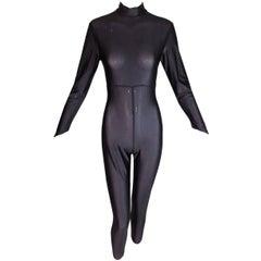 1990's Karl Lagerfeld MOD Sheer Metallic Black Catsuit Bodysuit Jumpsuit