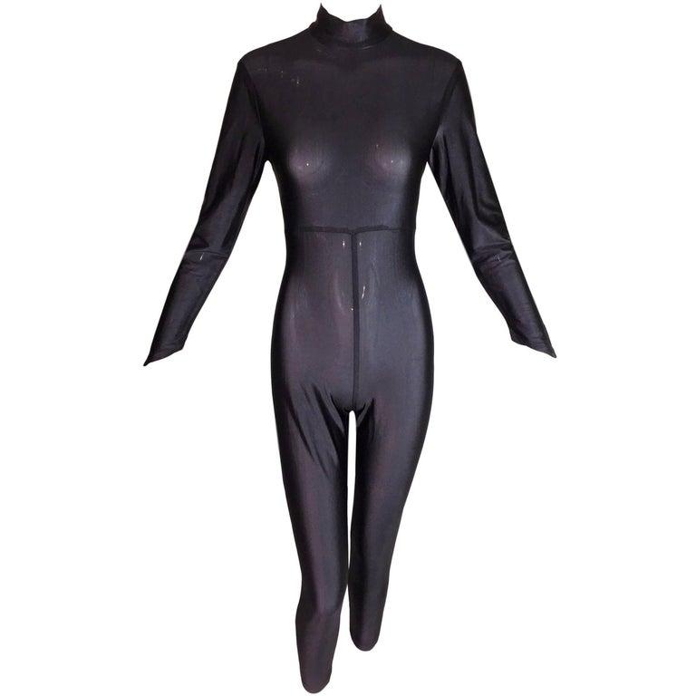 1990's Karl Lagerfeld MOD Sheer Metallic Black Catsuit Bodysuit Jumpsuit 1
