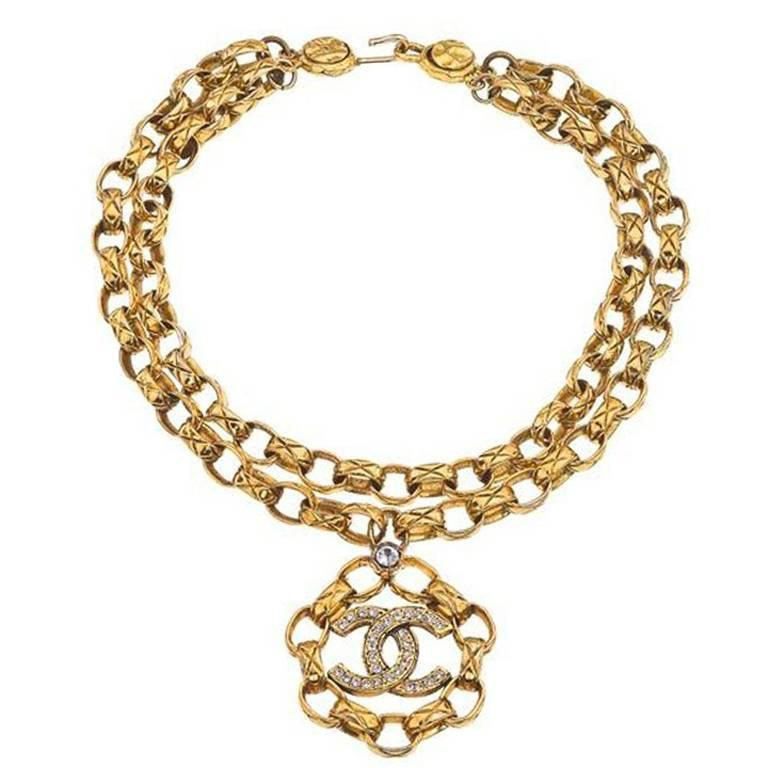 Chanel Double Chain Necklace With Rhinestones For Sale