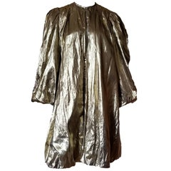 Vintage 1980s A.J Barry Gold Metallic Parachute Jacket Evening Coat