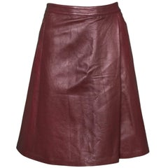 Luca Luca Burgundy Leather Skirt Sz 10