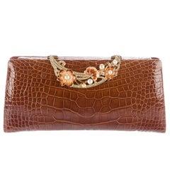 Judith Leiber New Cognac Alligator Pearl Evening Shoulder Clutch Bag