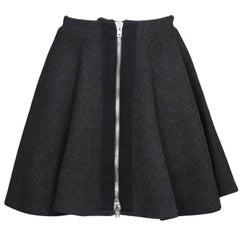 Miu Miu Grey Wool Zipper Skirt Sz IT38