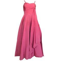 Original Vintage Mid Century Norman Young Evening Cocktail Dress Pink Taffeta