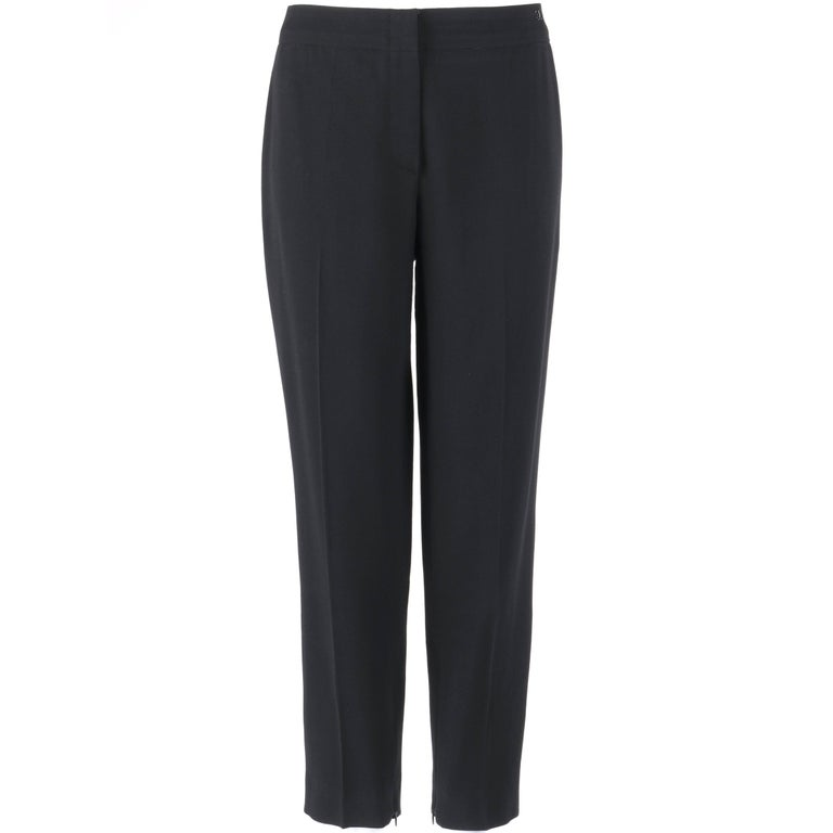 CHANEL S/S 2003 Classic Black Wool Slim Cut Cropped Pants Trousers