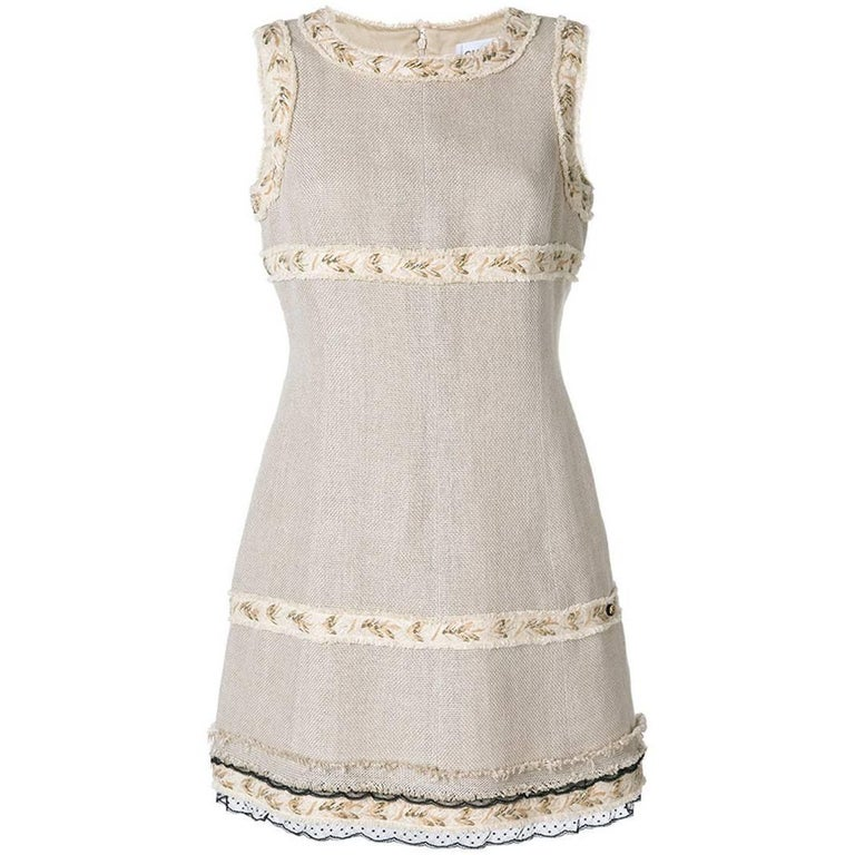 Vintage Chanel Embellished Lace Trim Linen Dress