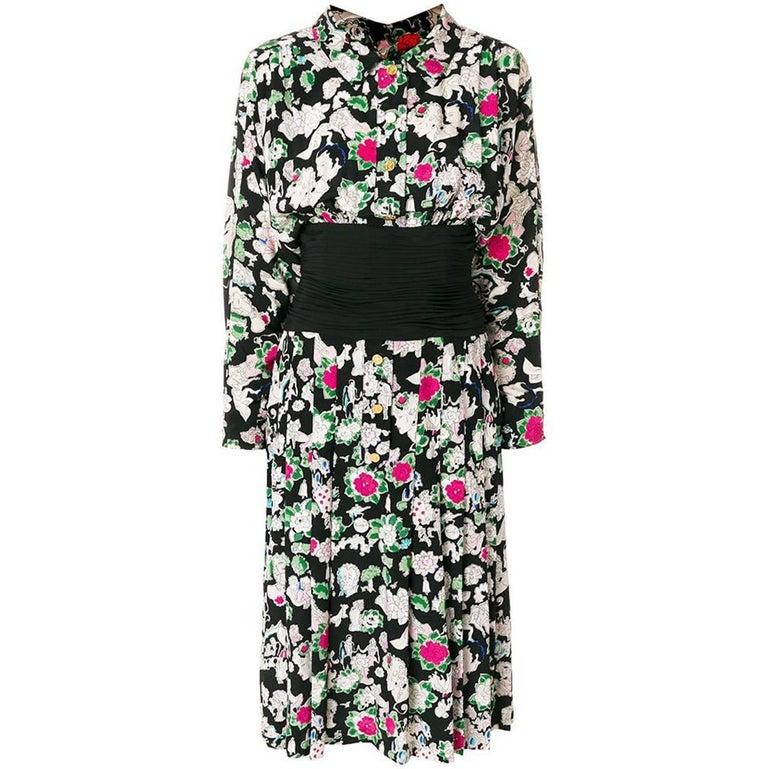 Vintage Chanel Printed Silk Midi Dress For Sale