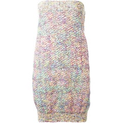 Chanel Multicoloured Strapless Tweed Dress