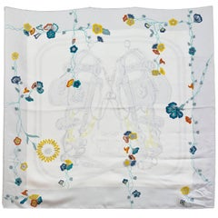 Hermes Limited Edition White Floral Brides de Gala Silk 90cm Scarf with Box