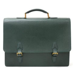 Louis Vuitton Tashkent Green Taiga Leather Briefcases
