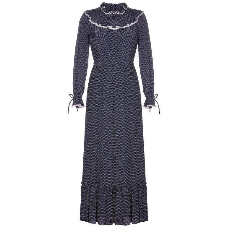 vera mont 1970s prairie navy polka dot dress for sale at 1stdibs. Black Bedroom Furniture Sets. Home Design Ideas