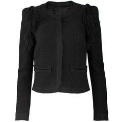 Roberto Cavalli Black Wool Tweed Jacket Sz IT40