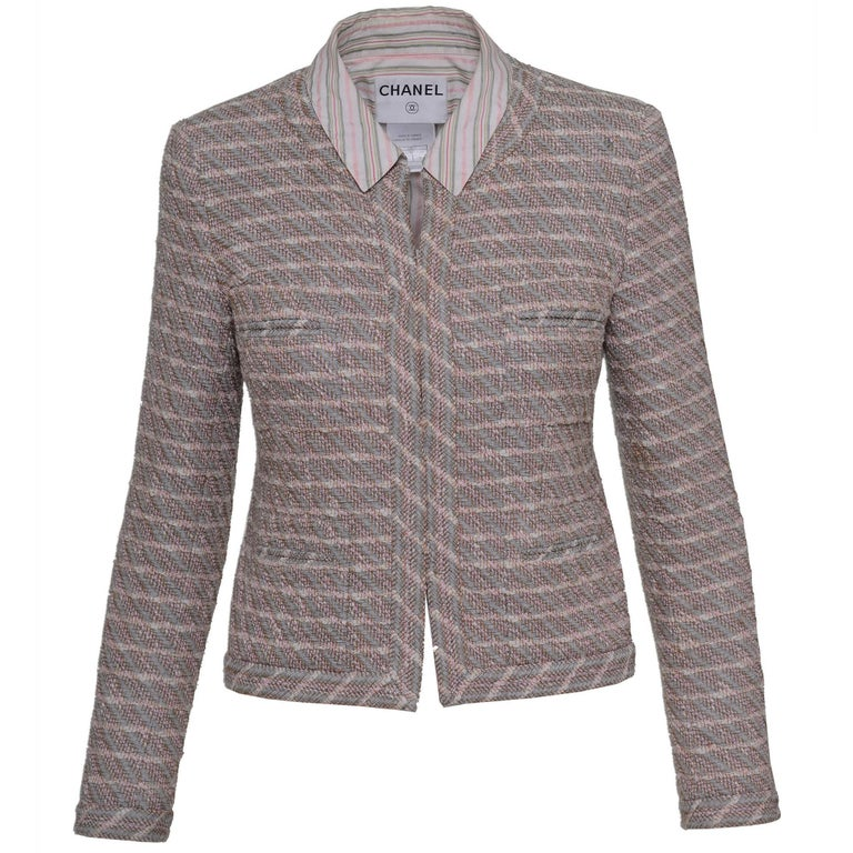 2003 SS CHANEL Weave Jacket with Regular Shirt Collar