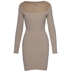Alaia Nude Sweater Off-the-Shoulder Dress