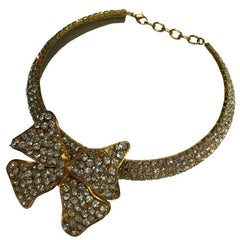 MARGUERITE DE VALOIS Ribbon Choker Necklace in Gilded Metal and Rhinestones