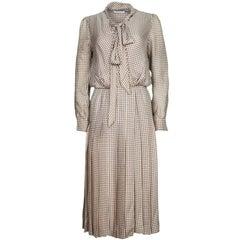 Chloe Camel Silk Print Dress Sz FR 36