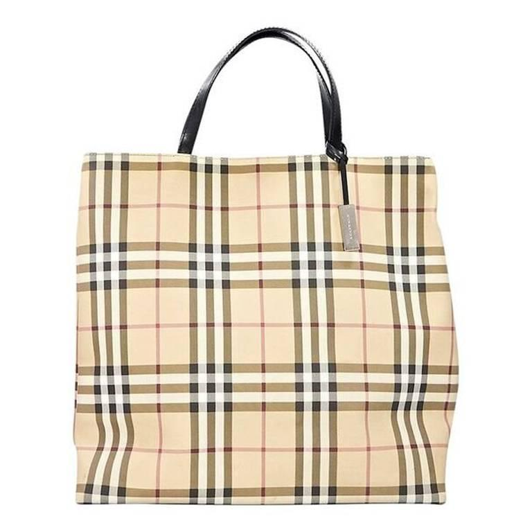 Tan Burberry Nova Check Tote Bag For Sale at 1stdibs 9314a2c169691
