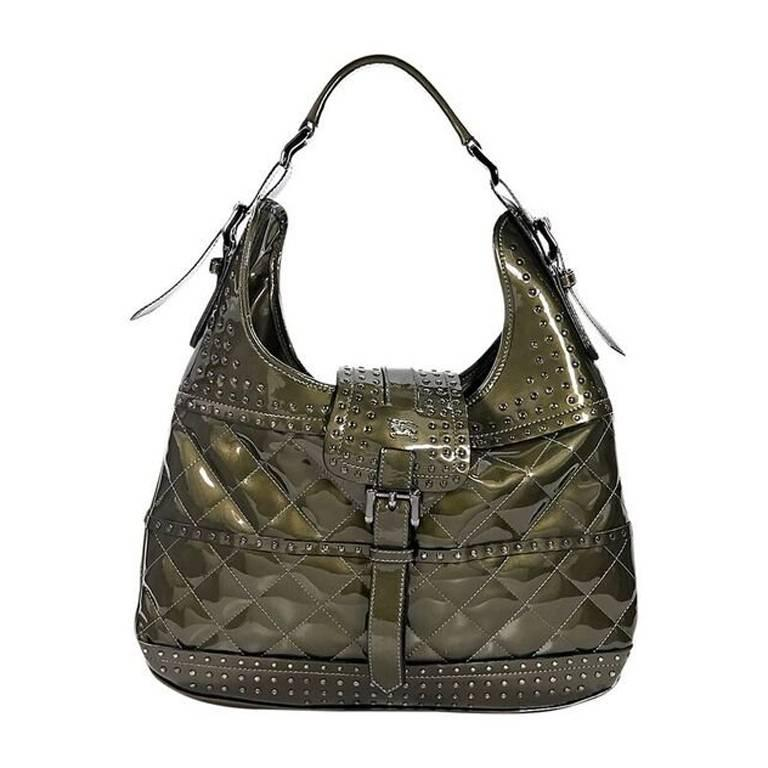 Olive Green Burberry Studded Patent Hobo Bag For Sale at 1stdibs 27f81c07672ef