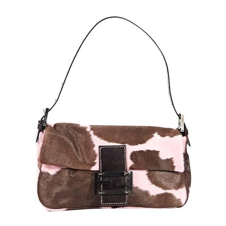 Brown & Pink Fendi Printed Ponyhair Baguette Bag