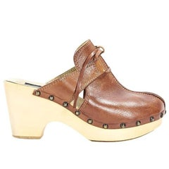 Cognac Brown Dolce & Gabbana Leather Clogs