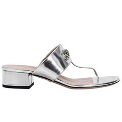 Silver Gucci Horsebit Leather Sandals