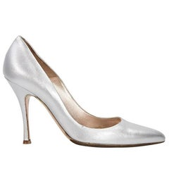 Silver Alexander McQueen Leather Pumps