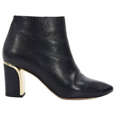 Black Chloe Leather Ankle Boots