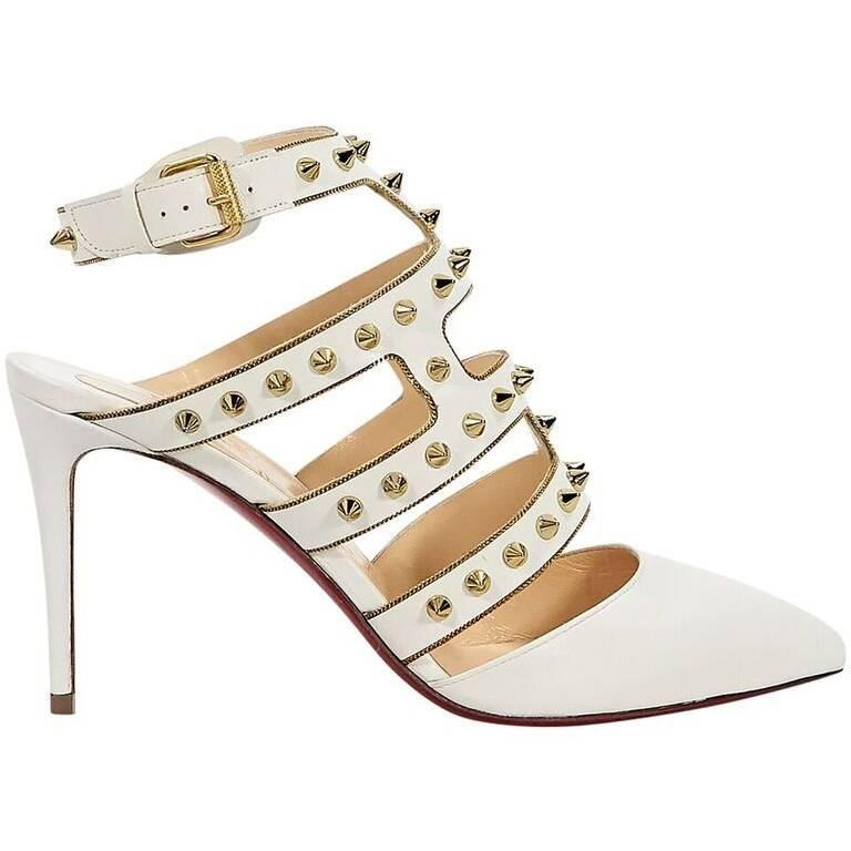 Cream Christian Louboutin Tchicaboum Studded Pumps For Sale at 1stdibs e99b79ea9817