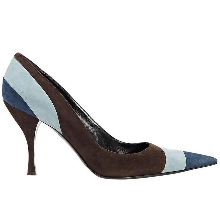 Brown & Blue Sergio Rossi Suede Pumps For Sale