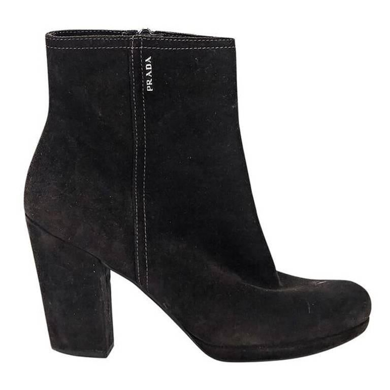 Black Prada Sport Suede Ankle Boots For Sale