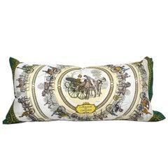 """Vintage Hermès Silk Scarf Pillow """"La Promenade De Longchamps"""" Large"""
