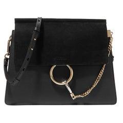 Chloe Black Leather & Suede Medium Faye Shoulder Bag