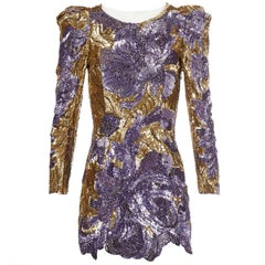 Balmain Runway 2010 Purple Gold Embelished Dress  Mint  38FR
