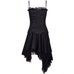 F/W 2003 Dolce & Gabbana Black Corset Lace Hi-Low Cancan Burlesque Bra Dress