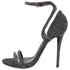 Louis Vuitton New Black Speckle Suede Cut Out Evening Sandals Heels