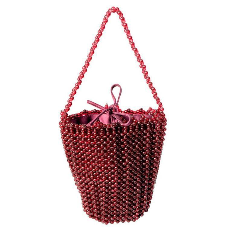 Bottega Veneta Ruby Red Beaded Handbag 1