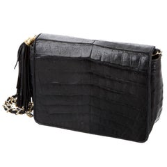 Chanel Black Crocodile Party Evening Camera Shoulder Flap Bag
