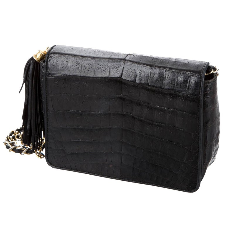 NEWFOUND LUXURY - Chanel Black Crocodile Party Evening Camera Shoulder Flap Bag