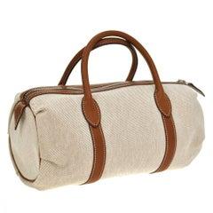Hermes Canvas Cognac Leather Top Handle Satchel Carryall Bag
