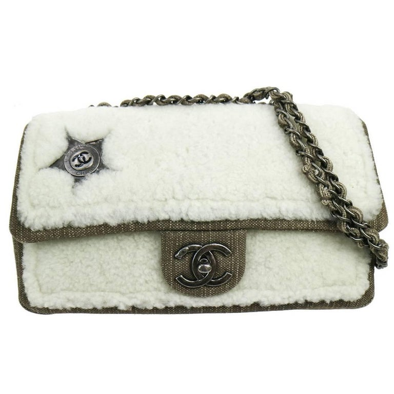 Chanel New Brown Denim Shearling Charm Shoulder Flap Bag