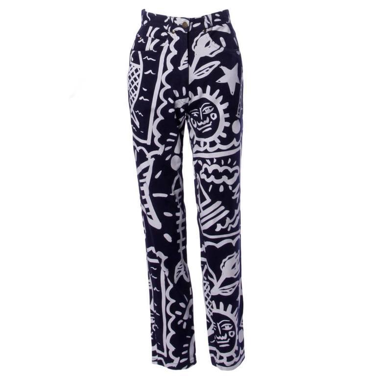 JC de Castelbajac Vintage High Waist Graffiti Jeans or Denim Pants, 1990s