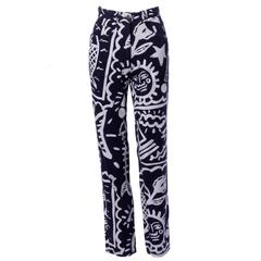 JC de Castelbajac Vintage High Waist Graffiti Jeans or Denim Pants, 1990s