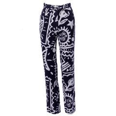 JC de Castelbajac Vintage 1990s 90s High Waist Graffiti Jeans or Denim Pants