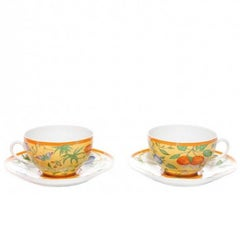 Hermes Porcelain Flower Four Piece Table Dishes Tea Set in Box
