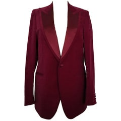 Aquascutum Vintage Mens Berry Red Cotton Velvet Tuxedo Jacket Blazer