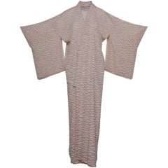 1940s Vintage White Long Komon Kimono